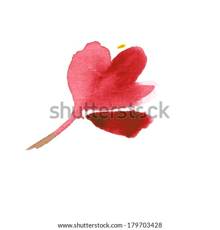 vector watercolor red flower