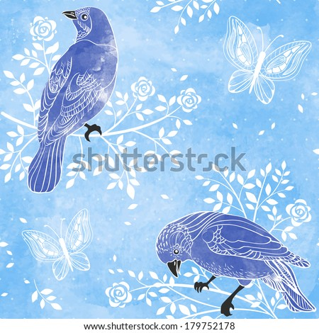 birds and flowers on a water