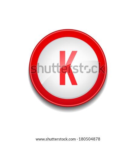 k letter circular vector red