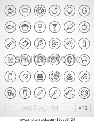 vector thin icons design set
