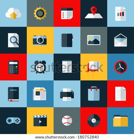 modern flat vector icons set of
