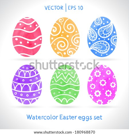 easter eggs set watercolor