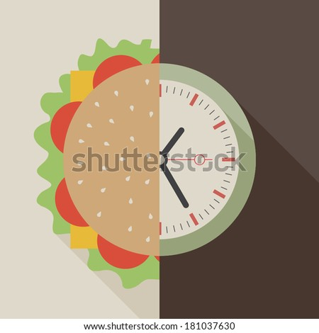 fast food and clock concept