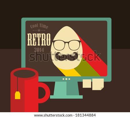 computer screen in retro colors