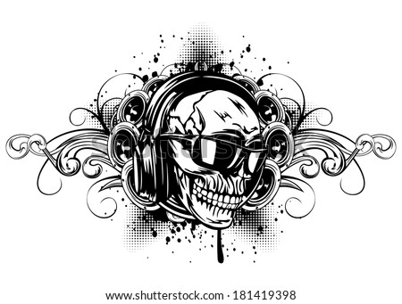 vector illustration human skull