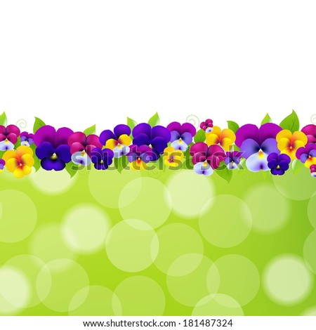 spring flowers border  with