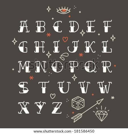 poster tattoo style font with
