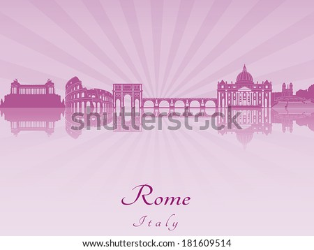 rome skyline in purple radiant