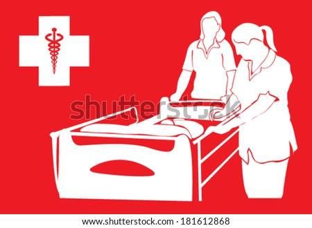 vector design of hospital bed