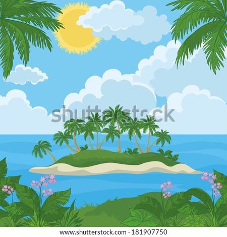 tropical landscape  sea island