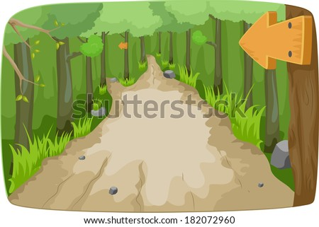 illustration featuring a hiking