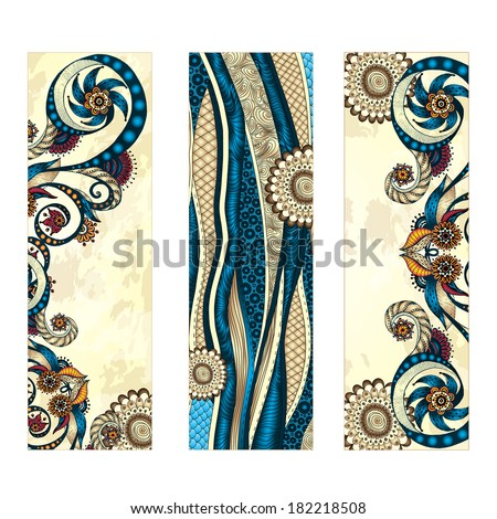 set of three abstract ethnic