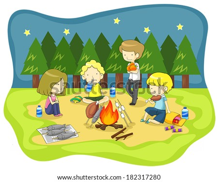children and campfire in the