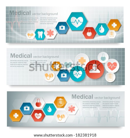 three medical banners with