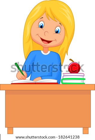 cartoon girl studying