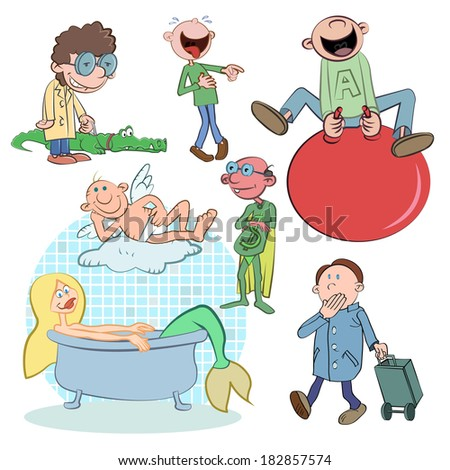 people cartoon set vector