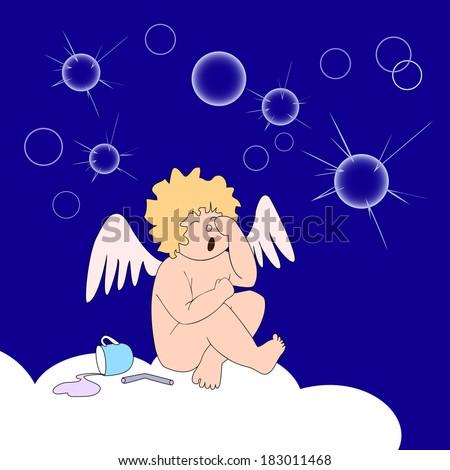 funny little angel sit on cloud
