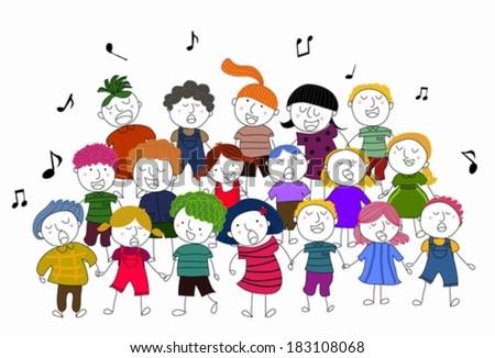 children choir singing vector