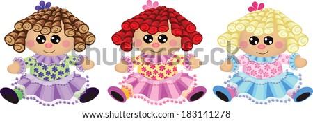baby dolls rag dolls  three rag