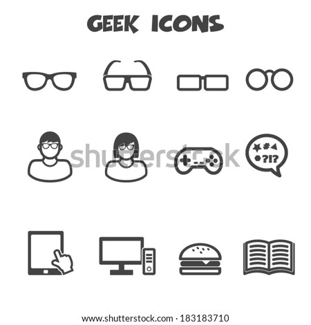 geek icons  mono vector symbols