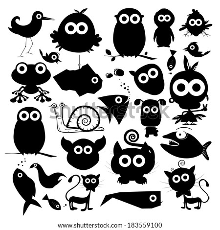 black vector animals silhouette