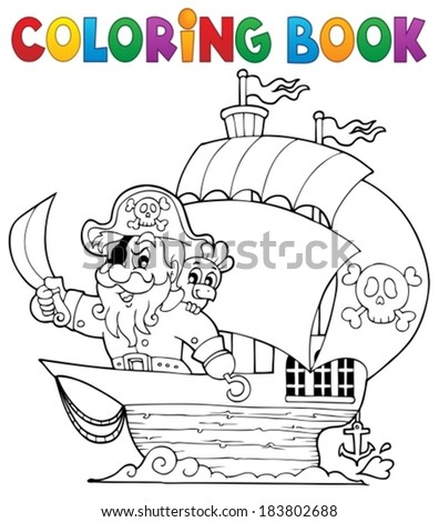 coloring book ship with pirate