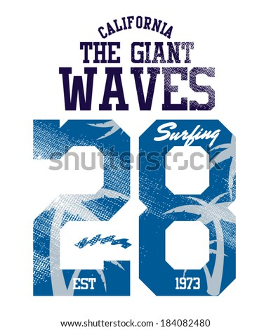 the giant waves surfer vector