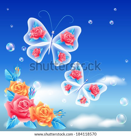 roses and butterflies in the sky