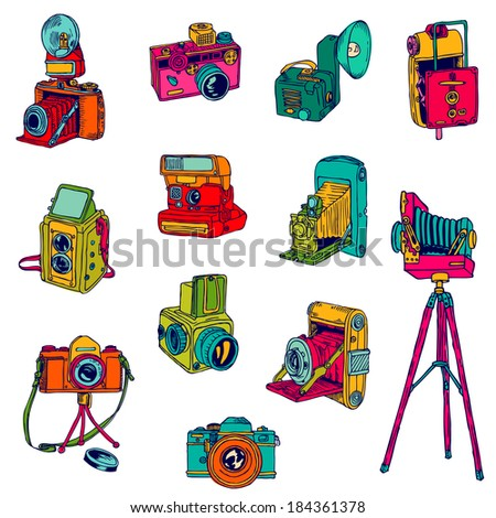 set of photo cameras   hand