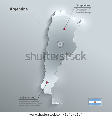 argentina map flag glass card