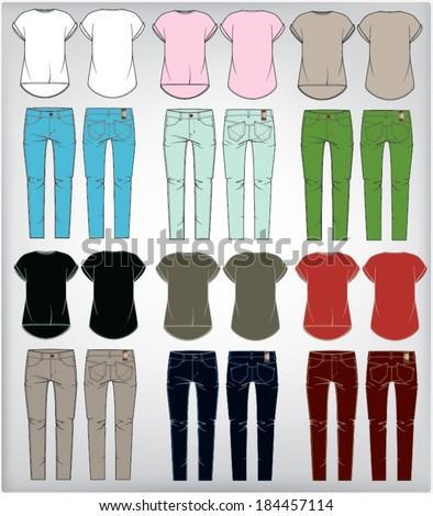 set of  women's clothes  jeans