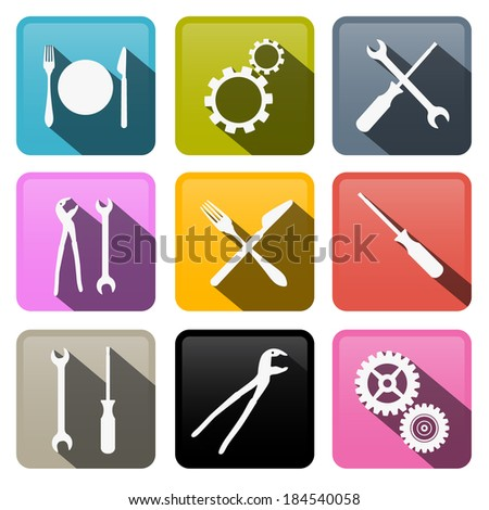 retro vector buttons  cogs