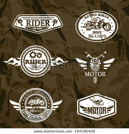 motorcycle vintage labels  set
