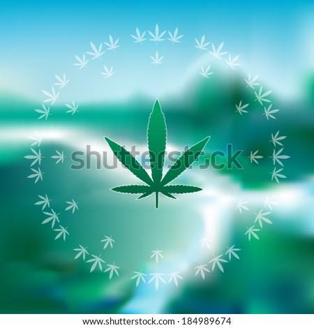 marijuana leaves on a blurred