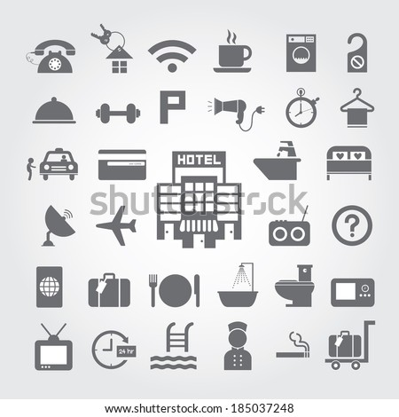 hotel and travel icon set on