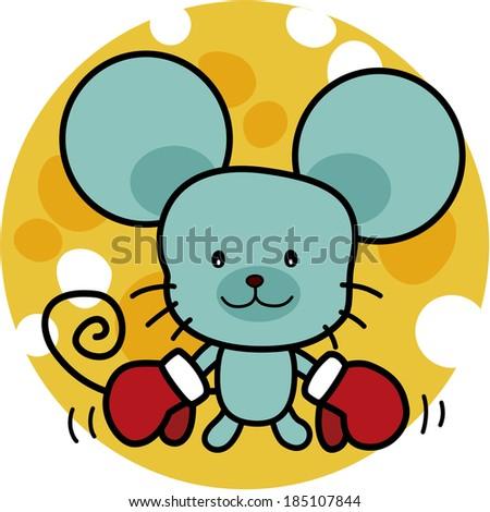 cartoon little mouse boxer