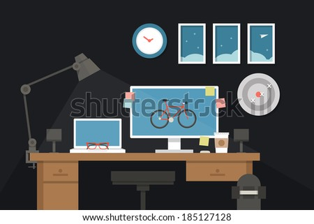 graphic designer desk  vector