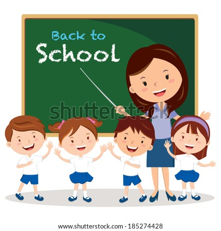 teacher and school kids vector