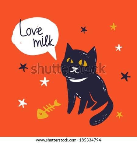 vector illustration nice cat