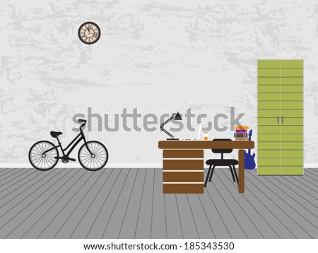 student room interior   vector