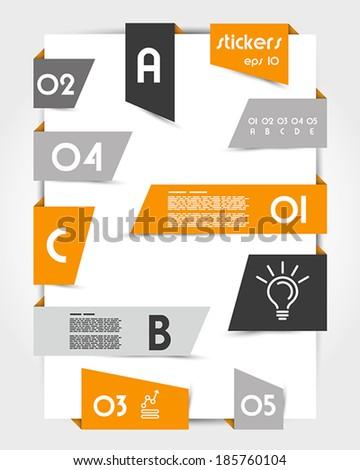 set of oblique orange origami