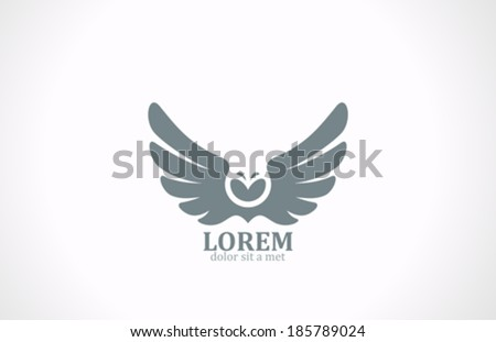bird wings abstract vector logo