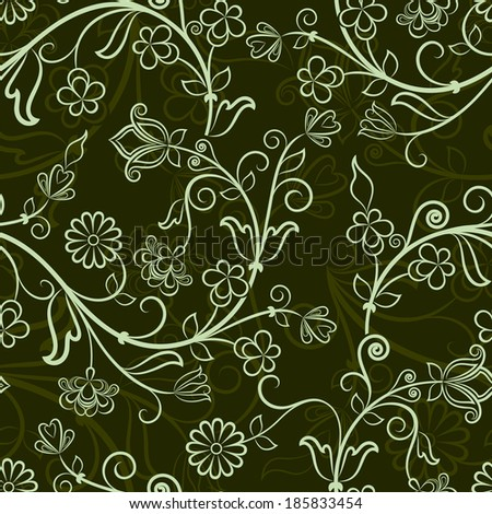 seamless dark green floral