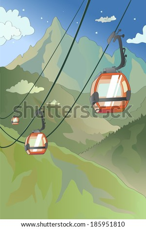 mountain cable car in the
