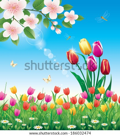 flowery meadow with tulips