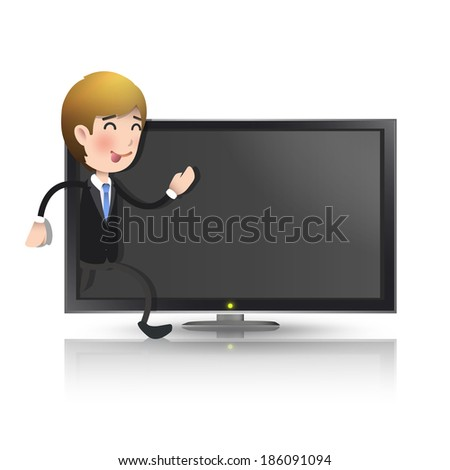businessman with realistic tv