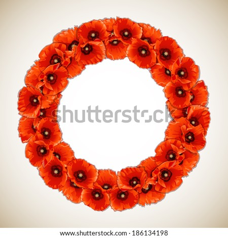 wreath of red poppies  floral