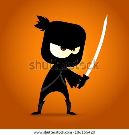 japanese ninja figure in action