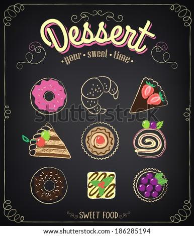 bakery menu sweet dessert set