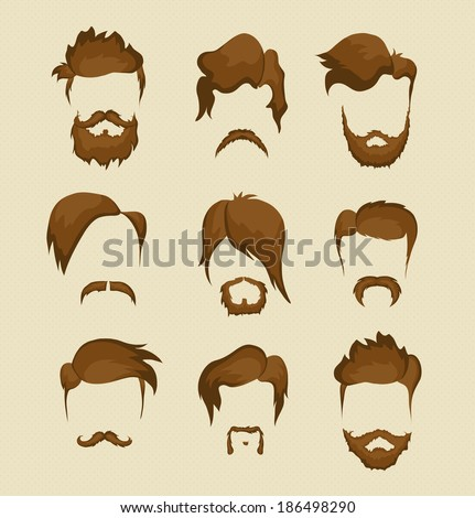 mustache  beard and hairstyle